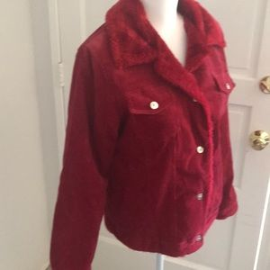 Red corduroy and faux fur button up Jacket
